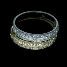 Jewelry Solid 14kt Two Tone Gold .98Ct Pave Engagement Diamond Wedding Band Ring
