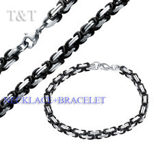 T&T 5mm 316L Stainless Steel Two Tone Square Chain Necklace with Bracelet SET
