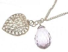 Pendant Necklace Heart Pendant grey faceted bead design IAS24