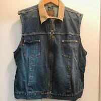 Vintage Eddie Bauer Vest womens size XXL Western Denim Rodeo Cowgirl Trucker