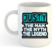Justy - The Man, The Myth, The Legend Mug - Name Personalised Funky Gift