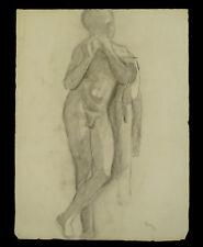 Dessin académique 1900 G. Banabéra enfant musicien Antique atelier étude fusain