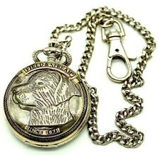 Field & Stream Men's Silver Dog Head Two-Toned with Chain Round Pocket Watch