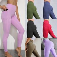 Women High Waist Yoga Leggings Stretch Workout Gym Butt Lift Sports Pocket Pants