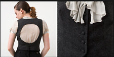 NWOT Charles & Victoria Womens Steampunk Keyhole Vest in Gray Tweed XL 14