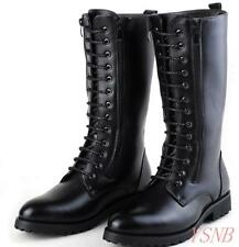 men's shoes lace up flat punk size zip mid calf military gothic riding boots