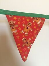Festive Handmade Christmas BUNTING Double Sided 2m Gingerbread Men & Stars (63)