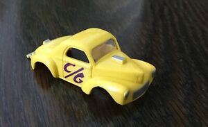 Aurora Vintage HO slot car: Willys Gasser BODY in yellow/purple lettering - New