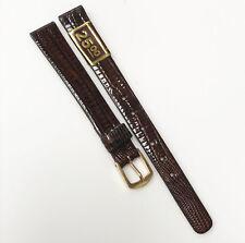 Seiko Genuine Lizard Leather Dark Brown Tone 11mm Gold Buckle Watch Band