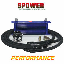 15 Row AN10 Universal Alumium Engine Oil Cooler Blue + Filter Relocation Kits