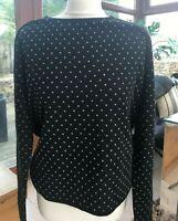 Marella EMME Designer Black Spotted Long Sleeve Scoop Neck Jumper Size L BNWT
