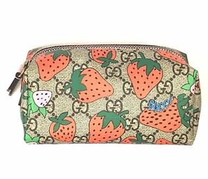 Gucci #576217 GG Supreme Strawberries Zip Cosmetic Case/Pouch, NWT