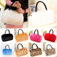 Ladies Women's shoulder HandBag Faux Fur Clutch Tote Hobo Bag Long Purse Wallet