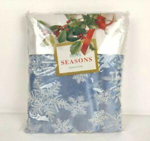 "Bardwil Seasons Tablecloth 60"" x 102"" Oblong Ice Palace Blue Snowflakes"