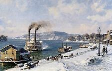 """John Stobart Print - Marietta: The Mail Line Packet """"Courier"""" Arriving in 1875"""