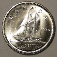BU UNC Canada 1976 bluenose dime 10 cent 10c from bank roll