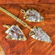 Quartz Arrowhead Necklace - Carved Crystal Pendant Gold (A61)