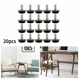 20pcs M8x18MM Adjustable Furniture Glide Leveling Feet Table Chair Legs Pad Mat