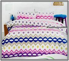 White Purple Blue Pink Yellow Latte KARIMA * 3pc QUEEN QUILT DOONA COVER SET