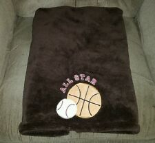 Dark Brown ALL STAR Sports Fleece Plush Baby Blanket Basketball Baseball Lovey