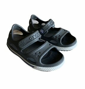 Crocs Crocband II Sandal Relaxed Fit Plastic Navy Gray White Childrens Size 7