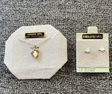 14k Gold and Opal Necklace & Earrings Set - BRAND NEW