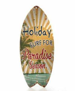 Metal Sign,Advertisement Sign Like Surfboard, Holiday Paradise Beach 40x17 CM