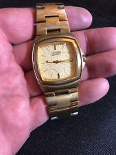 Mens Citizen Stainless Dress Gold Tone Cream Dial Analog Watch 2510-S96044 HSB