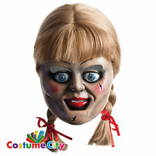 Adults Annabelle Movie Mask & Wig Halloween Fancy Dress Costume Accessory