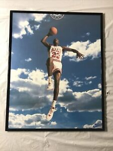 (New) Michael Jordan 16x20 Framed Poster Chicago Bulls Nike Sky Air 1992 Cloud