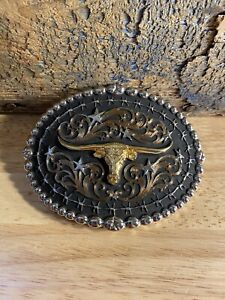 Montana Silversmiths Western Belt Buckle Mens Texas Longhorn Gold Silver Bull