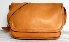 HANDMADE TAN BROWN GENUINE LEATHER FLAP CROSSBODY SHOULDER BAG LAPTOP MESSENGER
