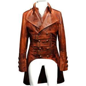 Mens Steampunk Brown Leather Tailcoat Waistcoat Victorian Edwardian Jacket