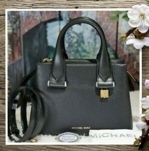 NWT MICHAEL KORS ROLLINS SMALL Satchel Crossbody Bag In BLACK Pebbled Leather