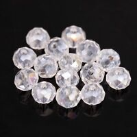 80pcs Shiny Clear Crystal Glass Rondelle Spacer Bead For Diy Bracelet 4x6mm