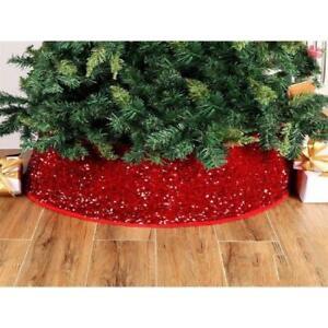 30 inch Red Base Sequin Christmas Tree Collar Around Xmas Tree Skirt Home Decor