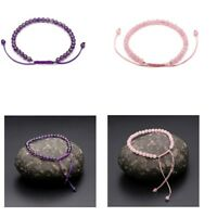 Natural Amethyst Rose Quartz Charm Beaded Braided Adjustable Bracelet Wristband