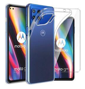 For Motorola Moto G 5G Plus Case Clear Slim Gel Cover & Glass Screen Protector