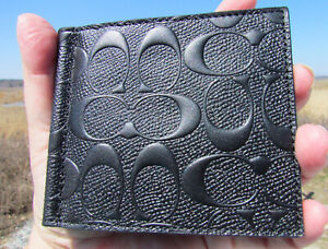 "NEW COACH black leather money clip $168 card case 26107 signature ""C"" crossgrain"