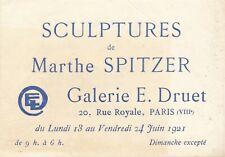 Marthe SPITZER carte exposition 1921 galerie Druet liste oeuvres