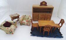 Wohnzimmer Esszimmer Puppenstube 50/60er Jahre Puppenhaus Möbel Vintage