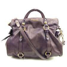 Auth MiuMiu Handbag Ribbon motif Ladies used T643