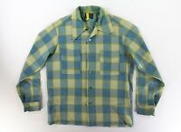 Vintage Pendleton 1960's Loop Neck Sz. Medium Green Plaid Shirt Loop Neck Shirt
