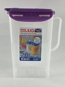 LOCK & LOCK Aqua Fridge Door Water Jug with Handle BPA Free Plastic Pitcher