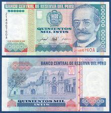 PERU 500.000 Intis 1989 Replacement Z UNC  P.147