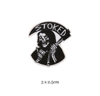 Stoked Grim Reaper - Biker Iron on Embroidery Cloth Patch Sew on Badge - Jacket