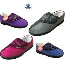 LADIES MEMORY FOAM ORTHOPEDIC STRAP TOUCH FASTEN E FITTING WIDE SLIPPERS SHOES,
