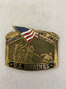 MT. SURIBACHI IWO JIMA FEBRUARY 23, 1945 U.S. MARINES BELT BUCKLE