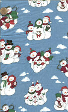 "OOP! CHRISTMAS SNOWMAN FAMILY ON BLUE -BTFQ - 18""X22"""