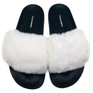dolce and gabbana White And Black Fur Slides